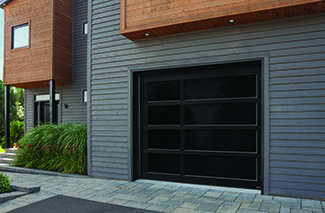 California Zen, 9' x 8', Black, Full vision door, Graylite glass