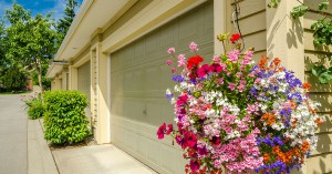 Garage doors with flowers