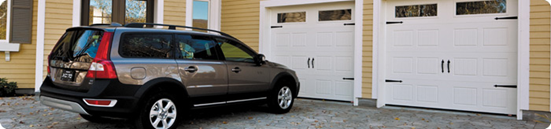 a car in front of garage door