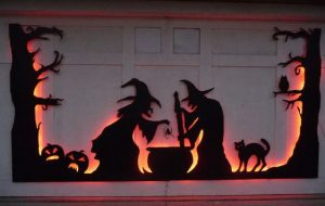 Halloween decoration on a garage door