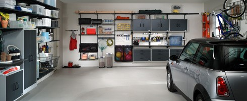 Interior view of a garage