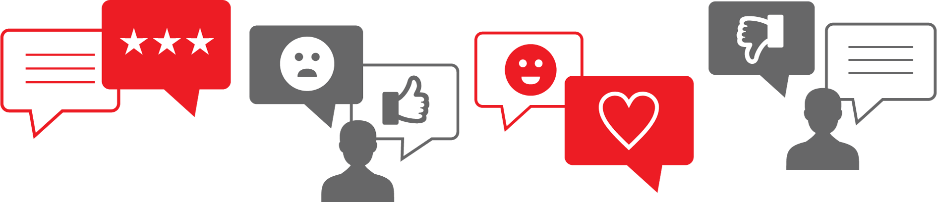 Customer speech bubbles with positive and negative reviews