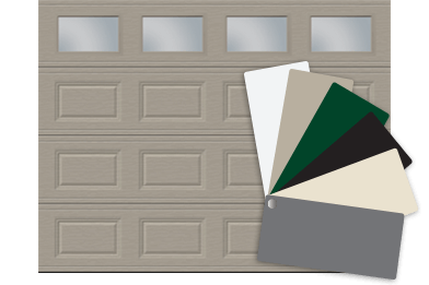 Garage door with colour swatch