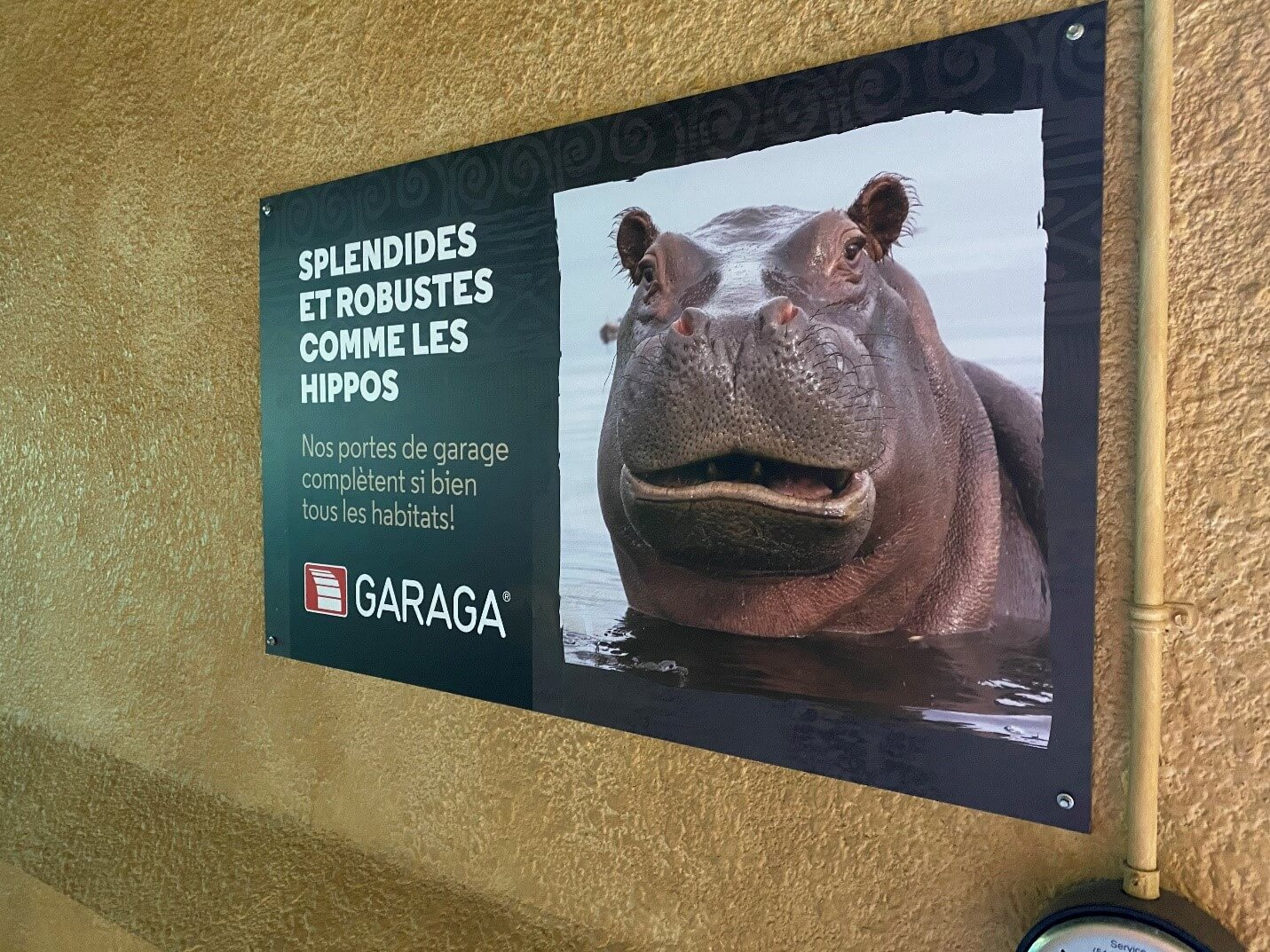 Garaga is proud to contribute to the well‑being of the Granby Zoo's hippos with its panoramic garage doors