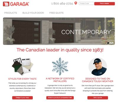 Garaga introduces the new version of its homepage