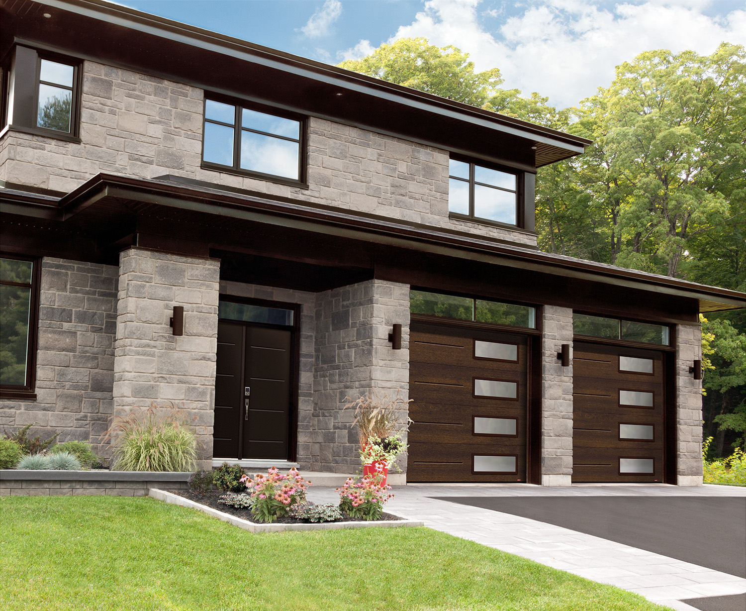 Garage doors with new Chocolate Walnut color