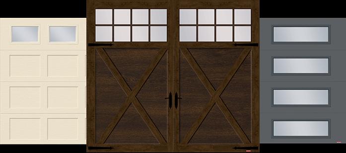 Shaker XL garage door, Princeton P-21 garage door and Vog garage door by GARAGA
