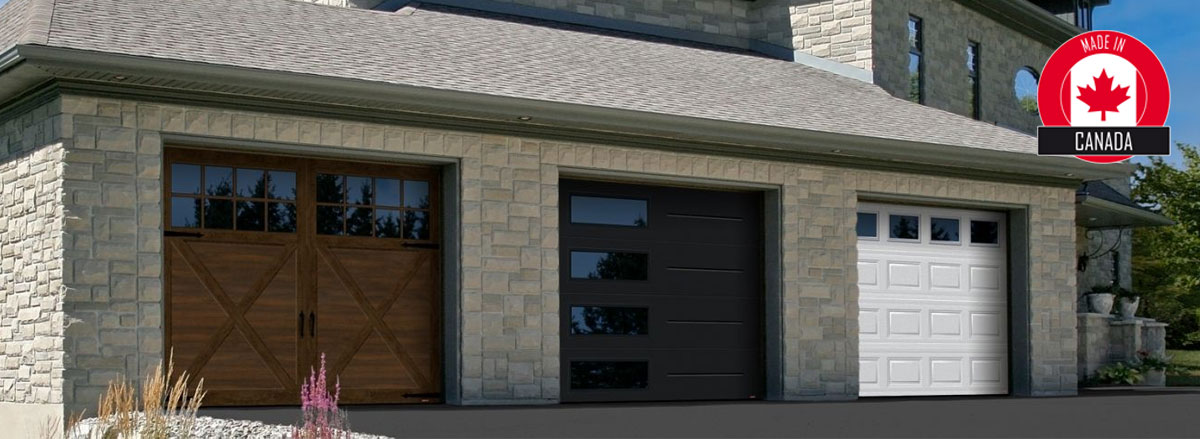 Sample house showing the 3 styles of garage doors: Carriage House, Contemporay and Traditional