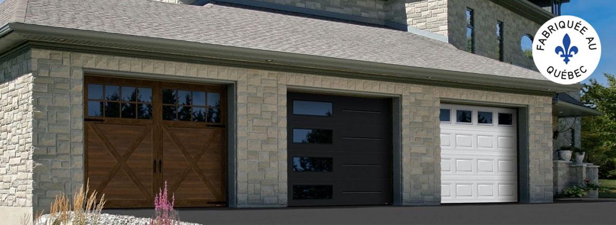 Maison avec les 3 styles de portes de garage, Champêtre, Contemporain et Traditionnel.