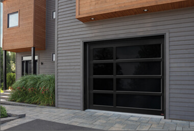 Glass door, 9' x 8', Black aluminum frame, Graylite glass