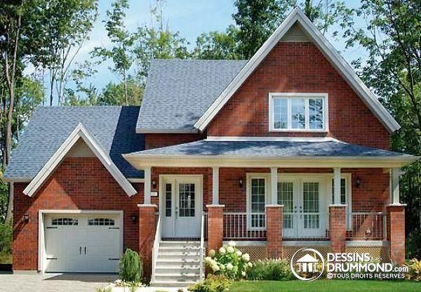 Maison de style champêtre avec ajout de garage (Plan 2594-V1)
