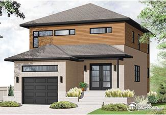 Plan de maison avec garage (Plan W3876)