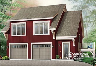 House plan with detached garage and an apartment above (Plan W3933)
