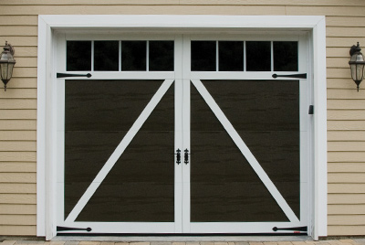 Eastman door, 10' x 8', Moka Brown with Ice White overlays, with Lis deco hardware