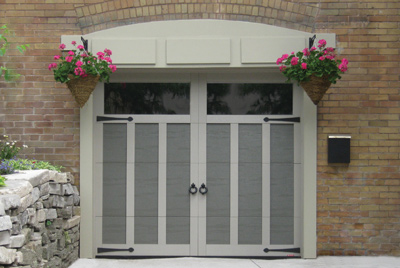 Eastman, 8' x 7', Dark Sand with Claystone overlays, clear Panoramic windows, with decorative hardware Door knockers model