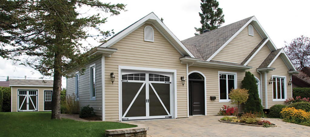 Coordinate the garage door of your shed (6' x 7') with that of your main garage door (9' x 8').