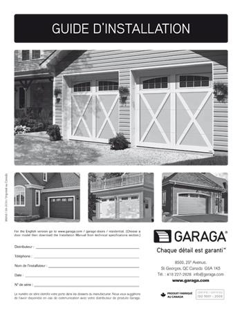 Guide d'intallation pour les portes de garage résidentielles