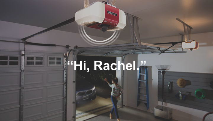 "The homeowner gets a notification on his smart phone and sees the neighbor as she enters his garage. ""Hi, Rachel!"" he says, ""the ladder is hung on the left wall""."