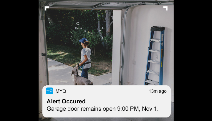 "The homeowner gets a notification on his smart phone ""Alert Occurred – The garage door remains open  and sees that the neighbor who walks the dog as the last to come out from the garage door."