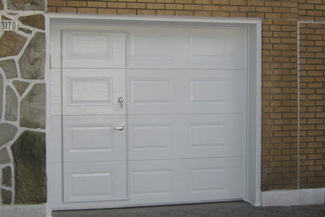 add a door opener blocking mechanism to prevent the door opener from working if the pedestrian - Garage Door With Door