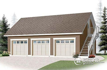 Detached garage plan with loft over garage (Plan 3987)