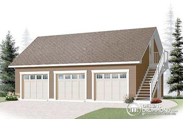 Plan de garage détaché avec loft au‑dessus du garage (Plan 3987)