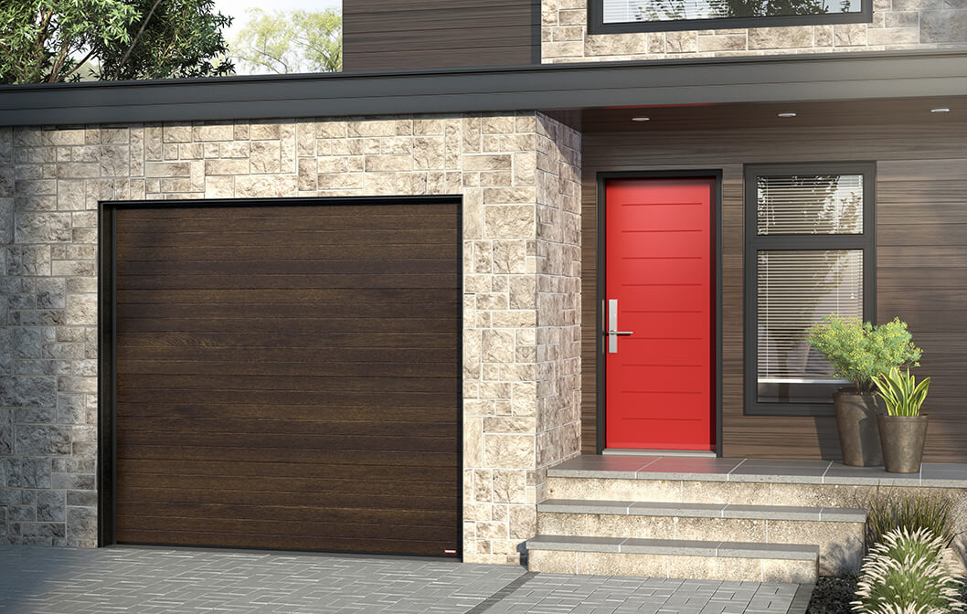 Model Standard+ Moderno Multi, 9' x 8', Chocolate Walnut / Novatech entry door: model Mundo from the Design Collection