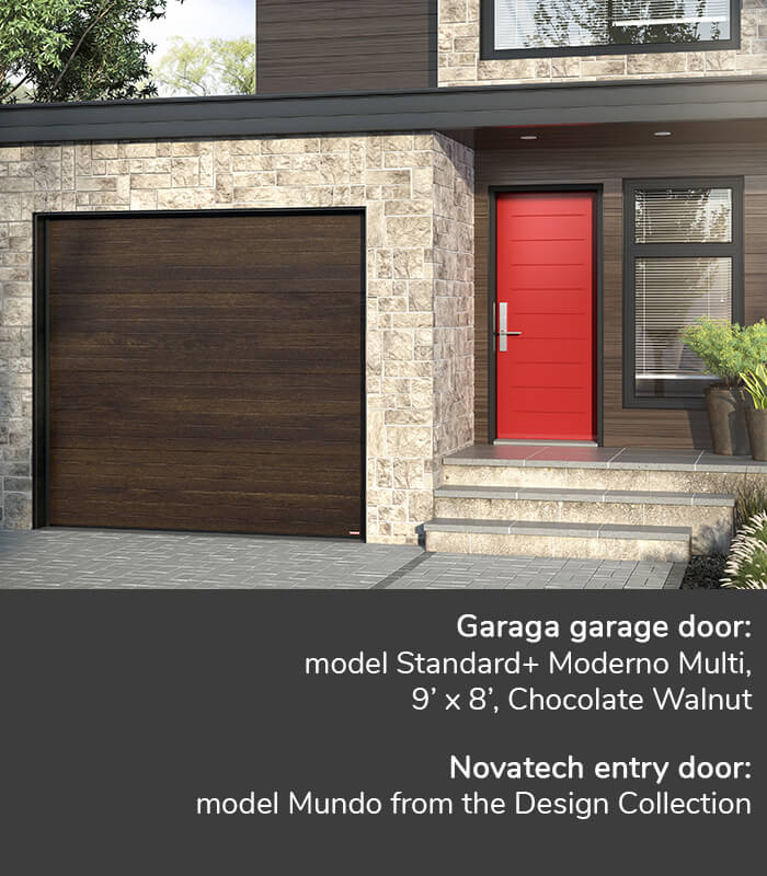 GARAGA garage doors | Standard+, Moderno Multi, 9' x 7', Chocolate Walnut | Novatech Entry door