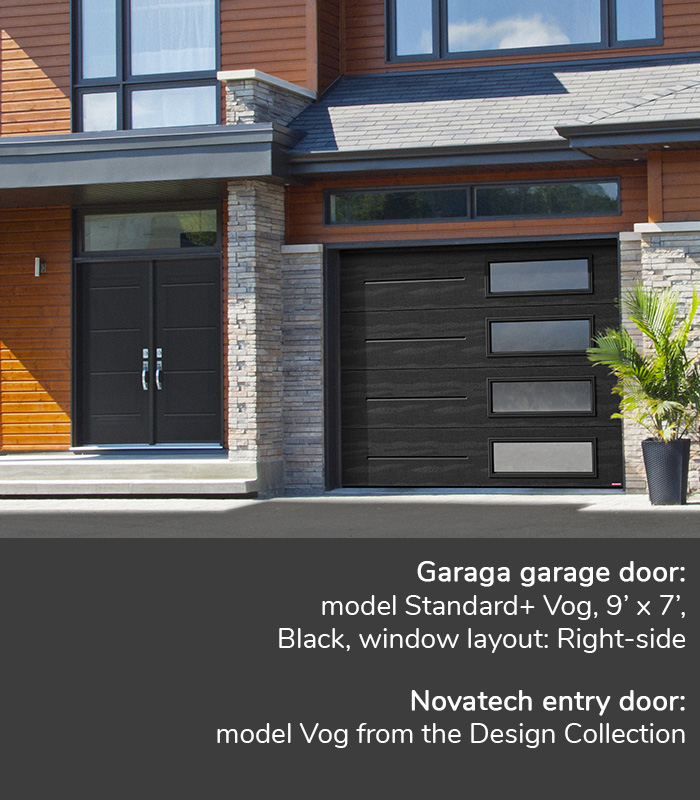 GARAGA garage doors | Standard+ Vog, Black, 10' x 7' | Novatech Entry door