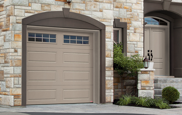 Garaga garage door: model Standard+ Prestige XL, 9' x 8', Claystone, Orion 8 lite windows / Novatech entry door: model Orleans from the Prestige Collection