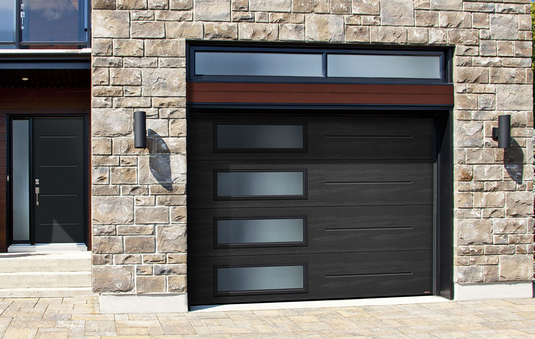 Garaga garage door: model Standard+ Vog, 10' x 7', Black, Window layout: Left-side Harmony / Novatech entry door: model Vog from the Design Collection