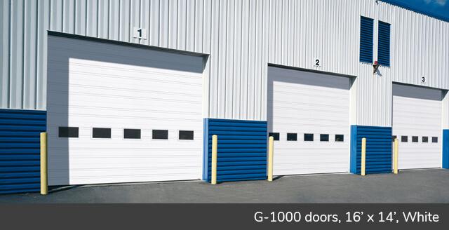 G-1000 doors, 16' x 14', White, Standard windows