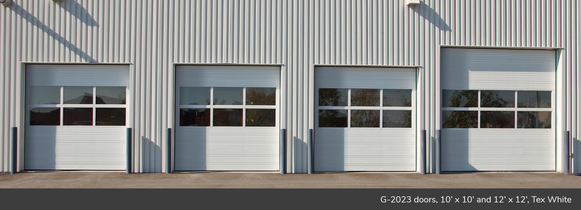 G-2020 doors, 10' x 10' and 12' x 12', Tex White