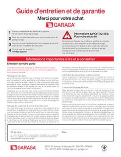 Guide d'entretien et garantie