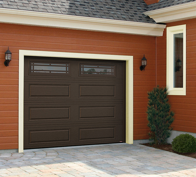 Single Traditional Style garage door with the Classic XL design in the Moka Brown color