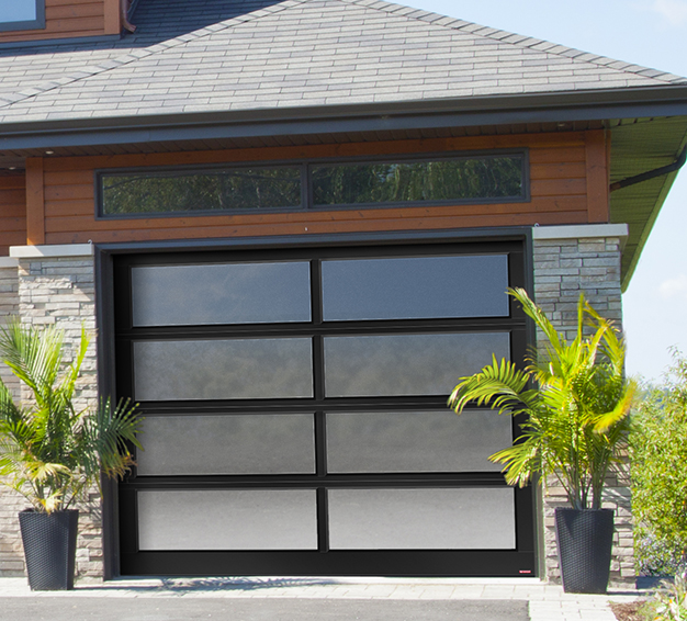 Single Contemporary Style garage door with the California design in the Black aluminum frame
