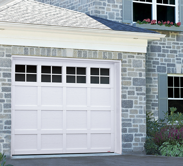 Single Traditional Style garage door with the Cambridge CM design in the Ice White color