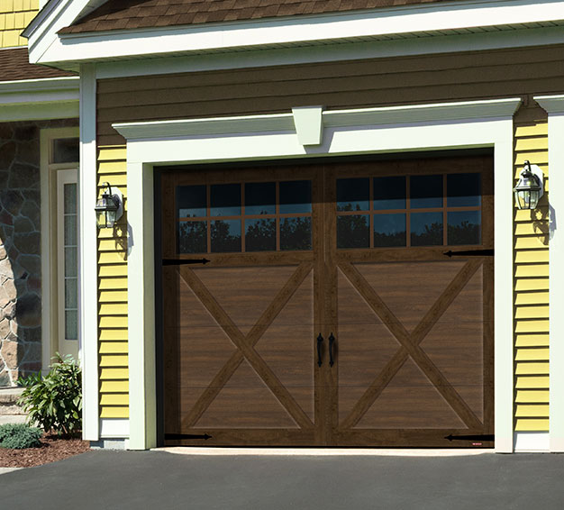 Single Carriage House Style garage door with the Princeton P-21 design in the Chocolate Walnut color