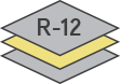 Icon of a garage door construction with an R-12 insulation factor