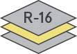 Icon of a garage door construction with an R-16 insulation factor