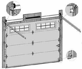 General view of an overhead garage door with a torsion spring