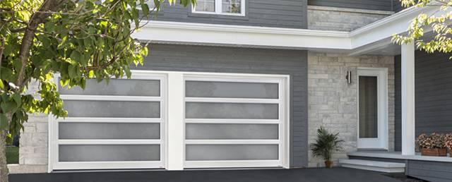 New Garage Door. California, 9u0027 X 7u0027, White Aluminum Frame, Satin Glass