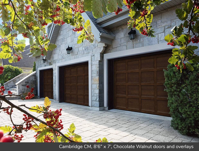 Cambridge CM 8u00276  x 7u0027 Chocolate Walnut doors and overlays & Cambridge CM design from Garaga Garage Doors