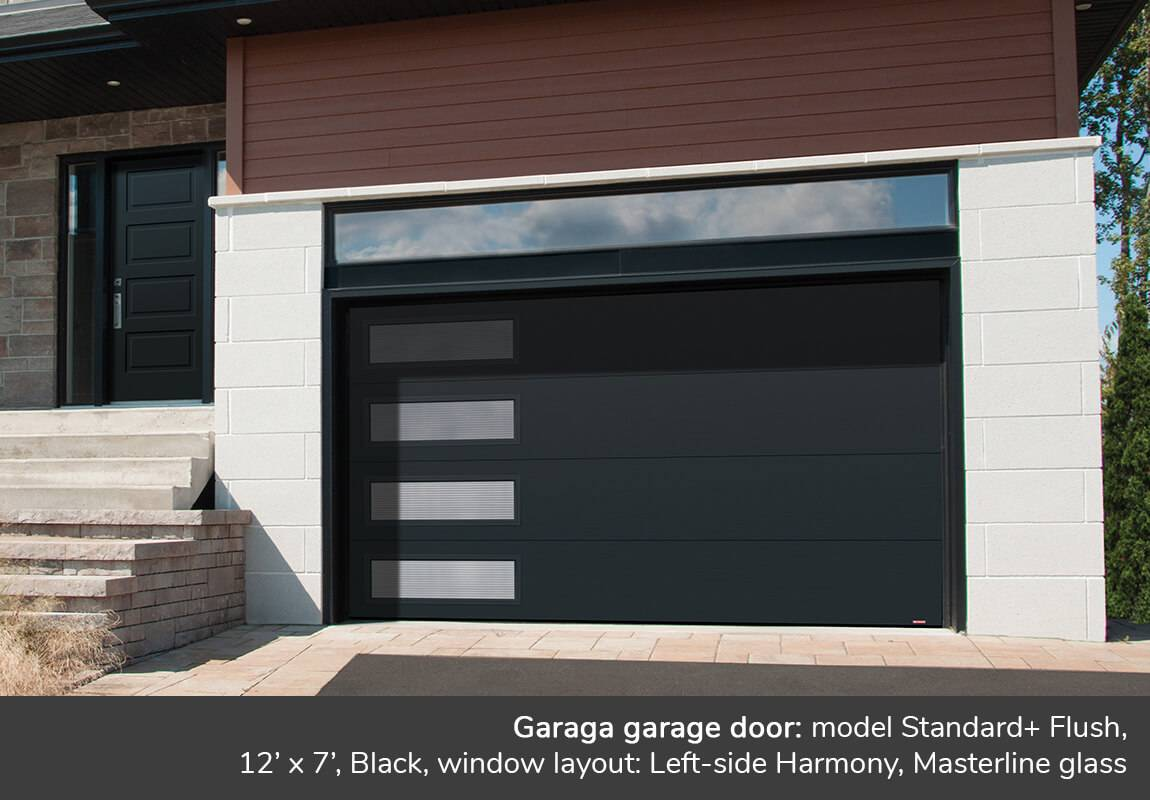 Garaga garage door: Standard+ Flush, 12' x 7', Black, window layout: Left-side Harmony, Masterline glass