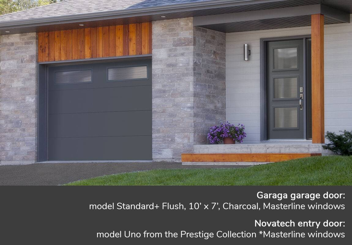Garaga garage door: model Standard+ Flush, 10' x 7', Charcoal, Masterline windows | Novatech entry door: model Uno from the Prestige Collection *Masterline windows