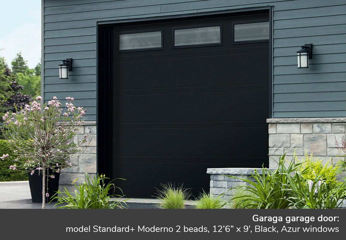 "Garaga garage door: Standard+ Moderno 2 beads, 12'6"" x 9', Black, Azur windows"