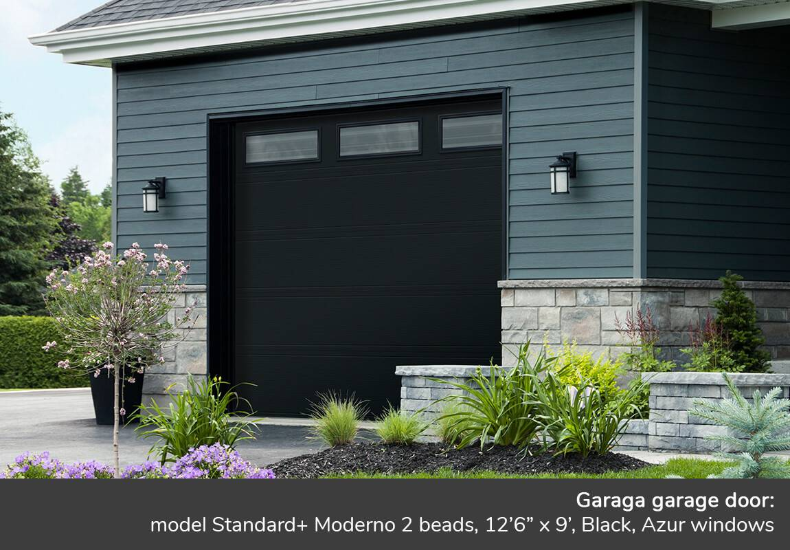 "Garaga garage door: Model Standard+ Moderno 2 beads, 12'6"" x 9', Black, Azur windows"