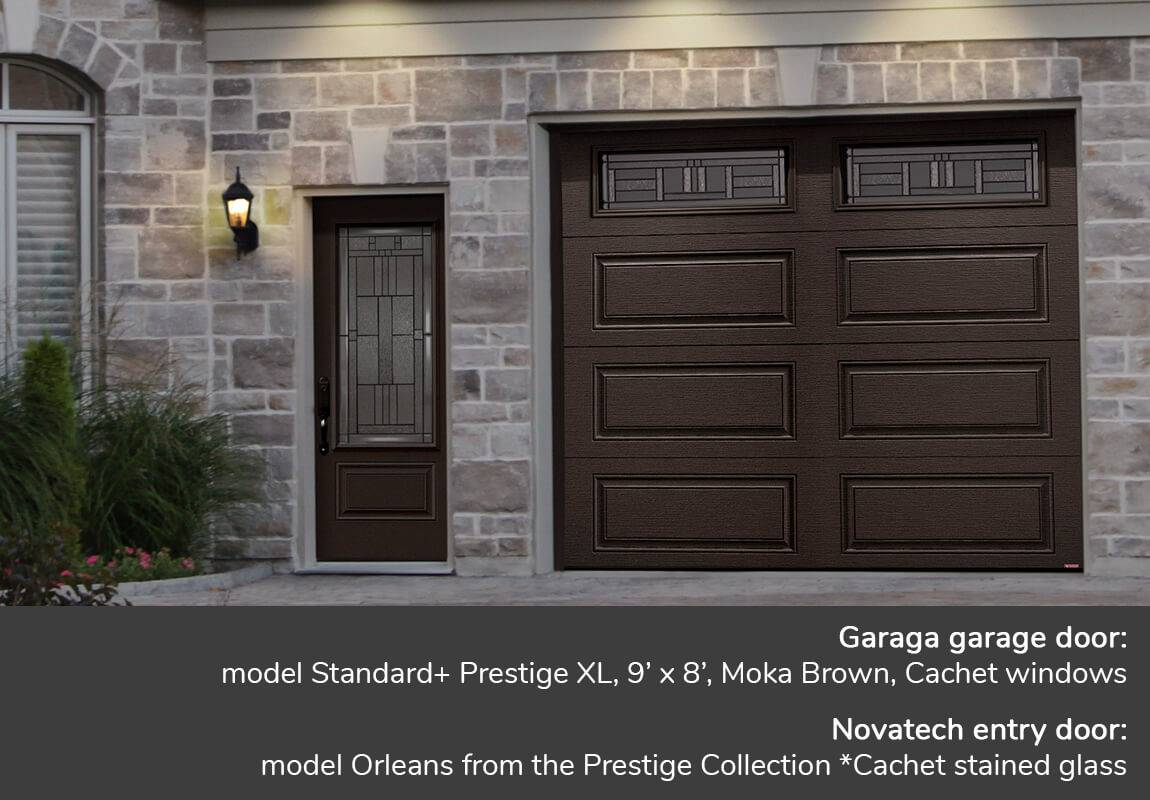 Garaga garage door: model Standard+ Prestige XL, 9' x 8', Moka Brown, Cachet windows | Novatech entry door: model Orleans from the Prestige Collection *Cachet stained glass