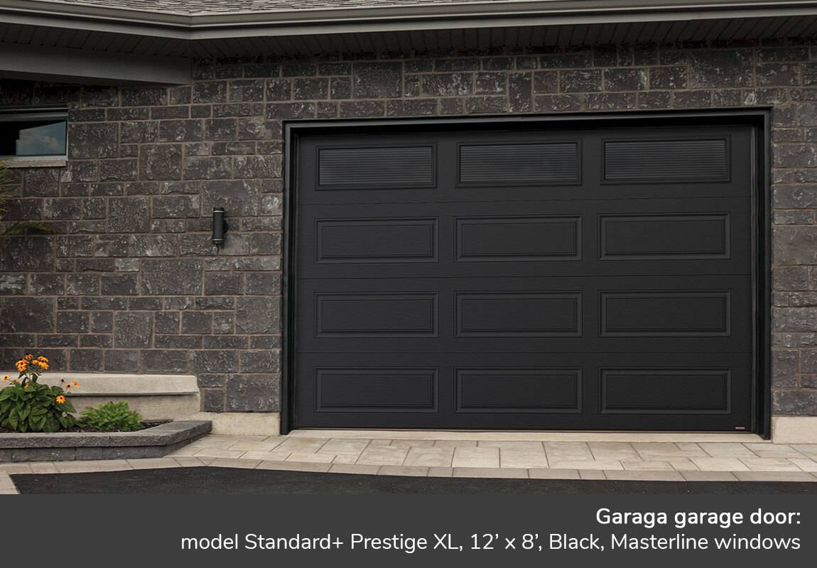 Garaga garage door: Standard+ Prestige XL, 12' x 8', Black, Masterline windows
