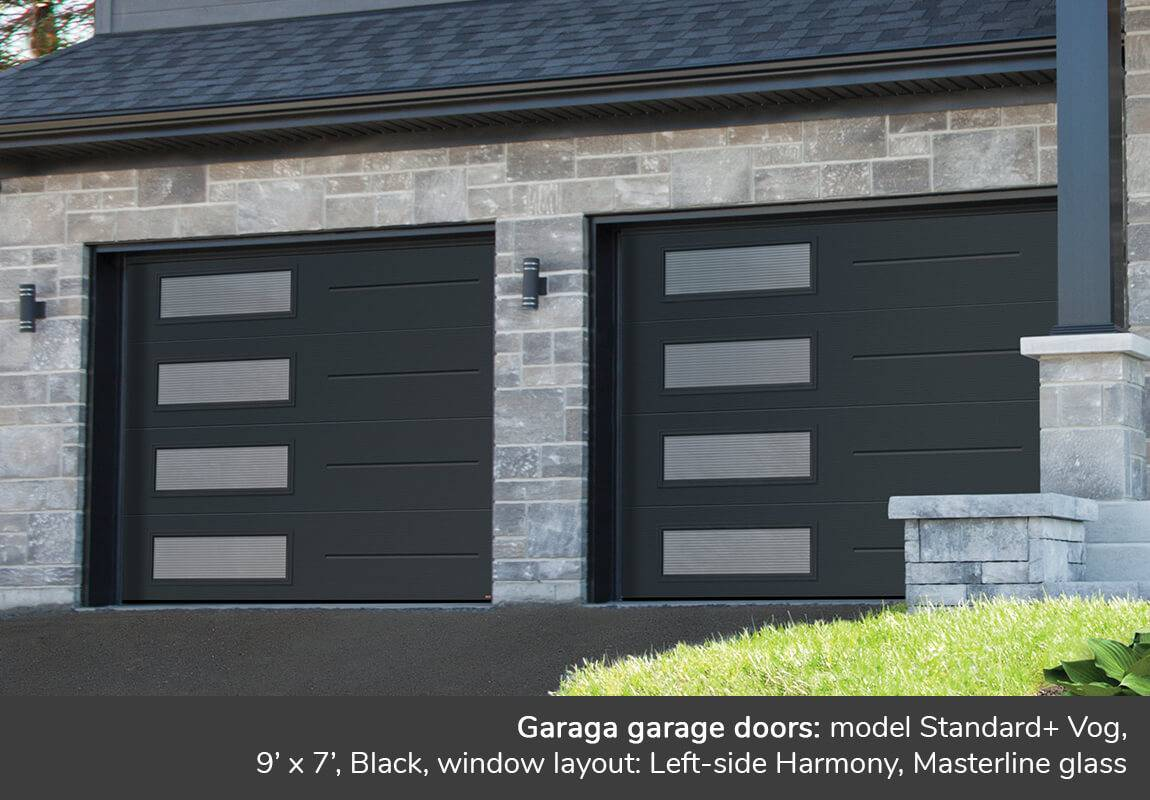 Garaga garage doors: Standard+ Vog, 9' x 7', Black, window layout: Left-side Harmony, Masterline glass